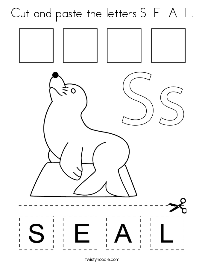 Cut and paste the letters S-E-A-L. Coloring Page