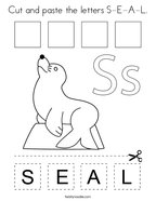 Cut and paste the letters S-E-A-L Coloring Page