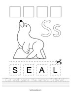 Cut and paste the letters S-E-A-L Handwriting Sheet