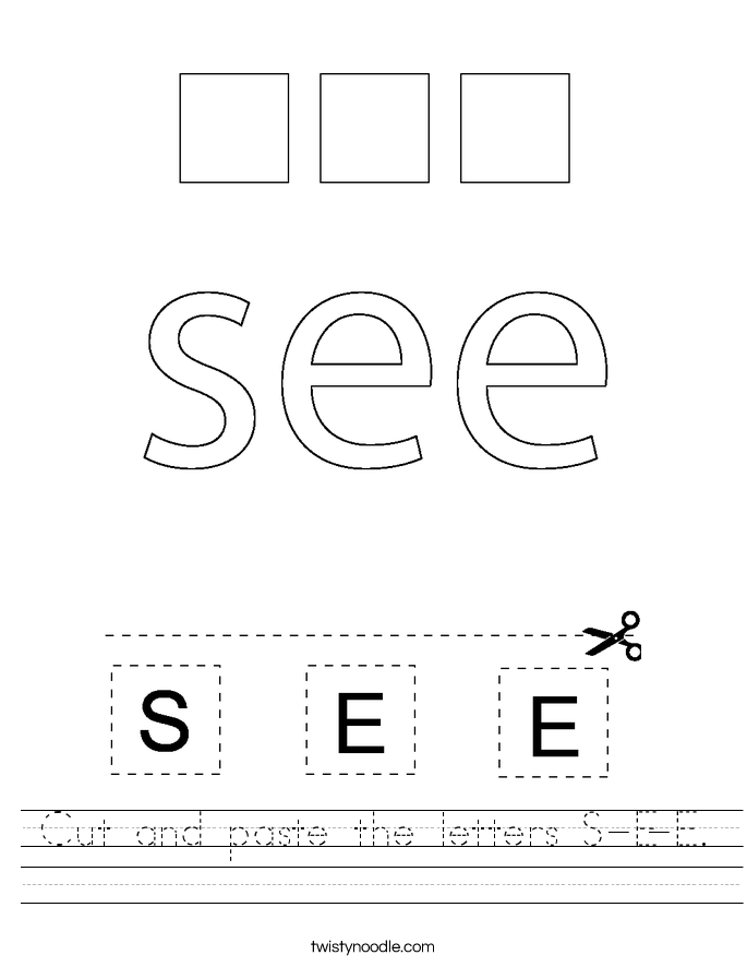 Cut and paste the letters S-E-E. Worksheet