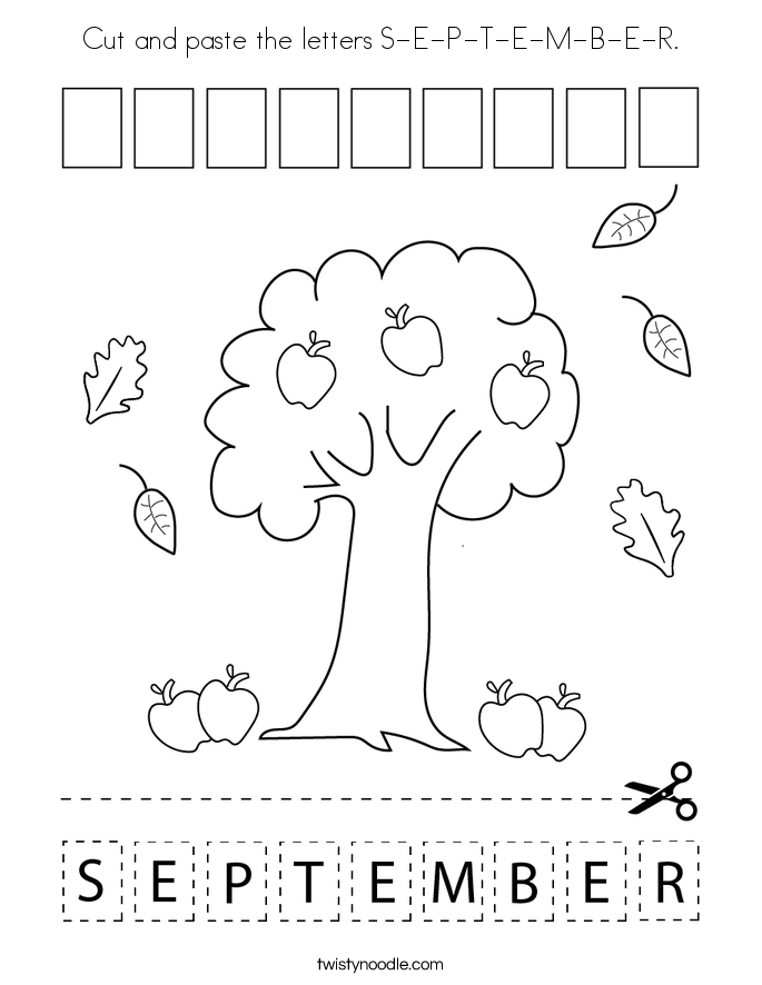 Cut and paste the letters S-E-P-T-E-M-B-E-R. Coloring Page