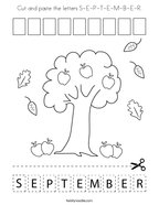 Cut and paste the letters S-E-P-T-E-M-B-E-R Coloring Page