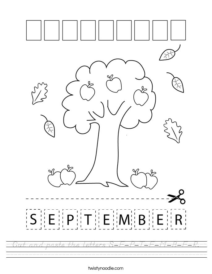 Cut and paste the letters S-E-P-T-E-M-B-E-R. Worksheet