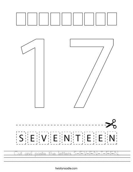 Cut and paste the letters S-E-V-E-N-T-E-E-N. Worksheet