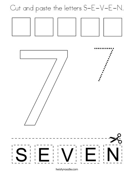 Cut and paste the letters S-E-V-E-N. Coloring Page