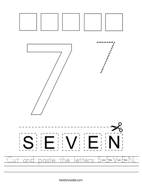 Cut and paste the letters S-E-V-E-N. Worksheet