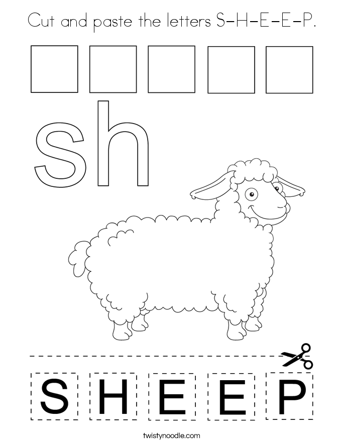 Cut and paste the letters S-H-E-E-P. Coloring Page