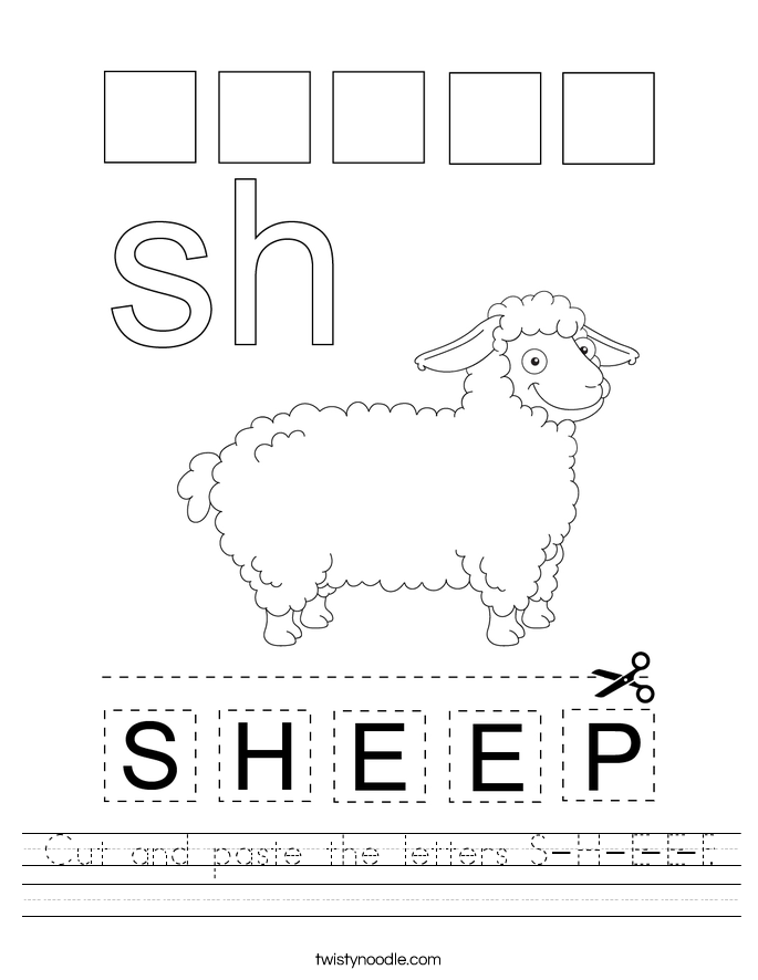Cut and paste the letters S-H-E-E-P. Worksheet