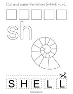 Cut and paste the letters S-H-E-L-L Coloring Page