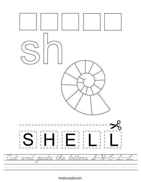 Cut and paste the letters S-H-E-L-L. Worksheet