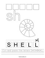 Cut and paste the letters S-H-E-L-L Handwriting Sheet