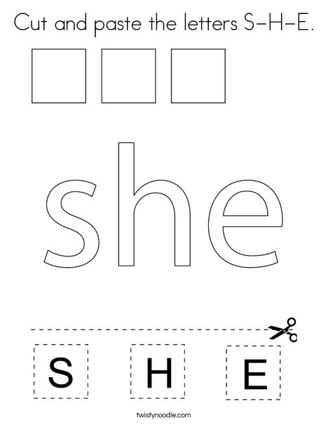 Cut and paste the letters S-H-E. Coloring Page
