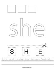 Cut and paste the letters S-H-E Handwriting Sheet