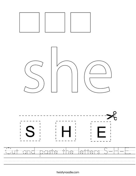 Cut and paste the letters S-H-E. Worksheet