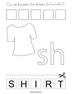 Cut and paste the letters S-H-I-R-T Coloring Page