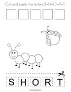 Cut and paste the letters S-H-O-R-T Coloring Page