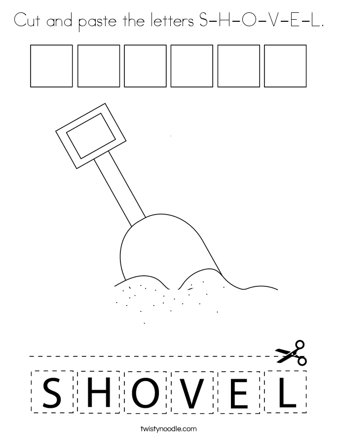 Cut and paste the letters S-H-O-V-E-L. Coloring Page