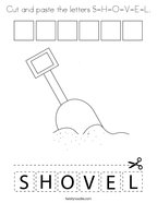Cut and paste the letters S-H-O-V-E-L Coloring Page