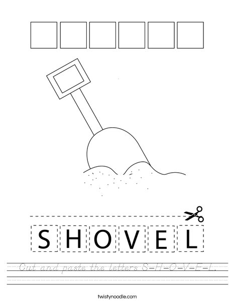 Cut and paste the letters S-H-O-V-E-L. Worksheet
