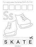 Cut and paste the letters S-K-A-T-E. Coloring Page