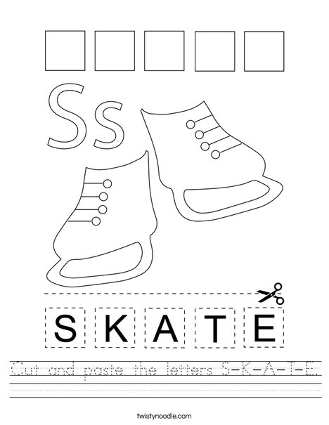 Cut and paste the letters S-K-A-T-E. Worksheet