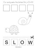 Cut and paste the letters S-L-O-W Coloring Page