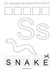 Cut and paste the letters S-N-A-K-E Coloring Page