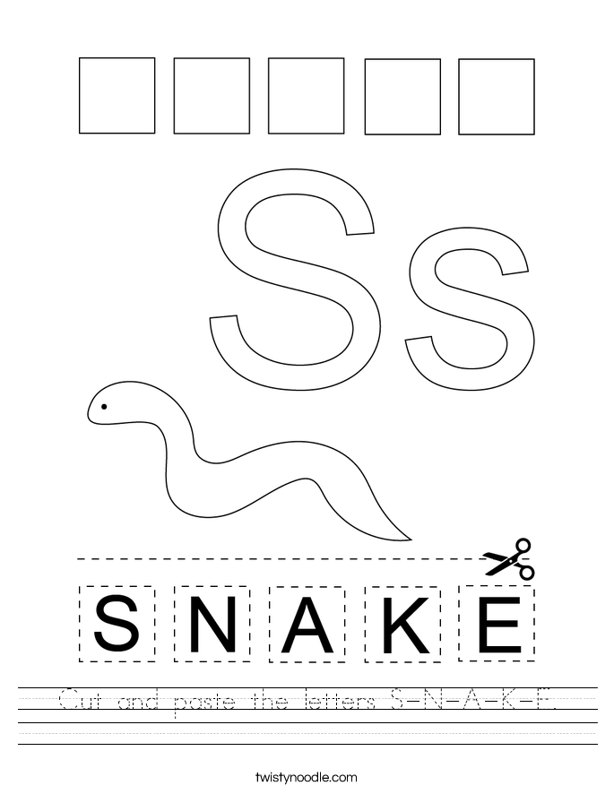Cut and paste the letters S-N-A-K-E. Worksheet