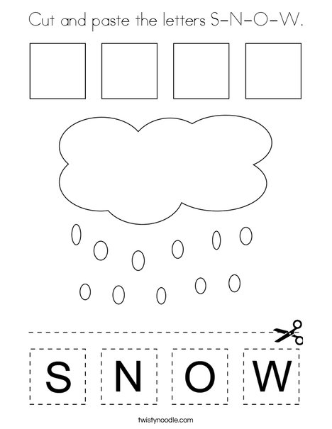 Cut and paste the letters S-N-O-W. Coloring Page