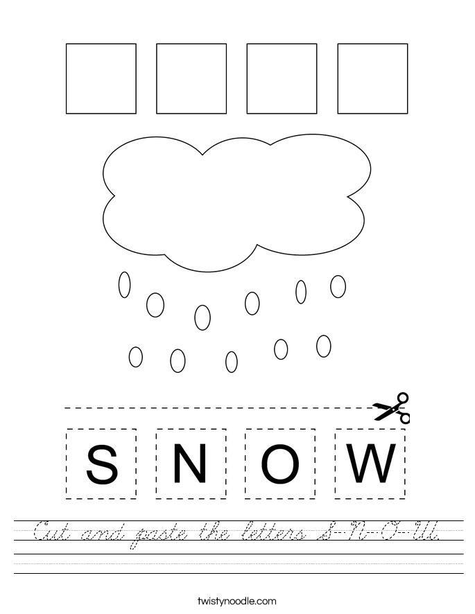 Cut and paste the letters S-N-O-W. Worksheet