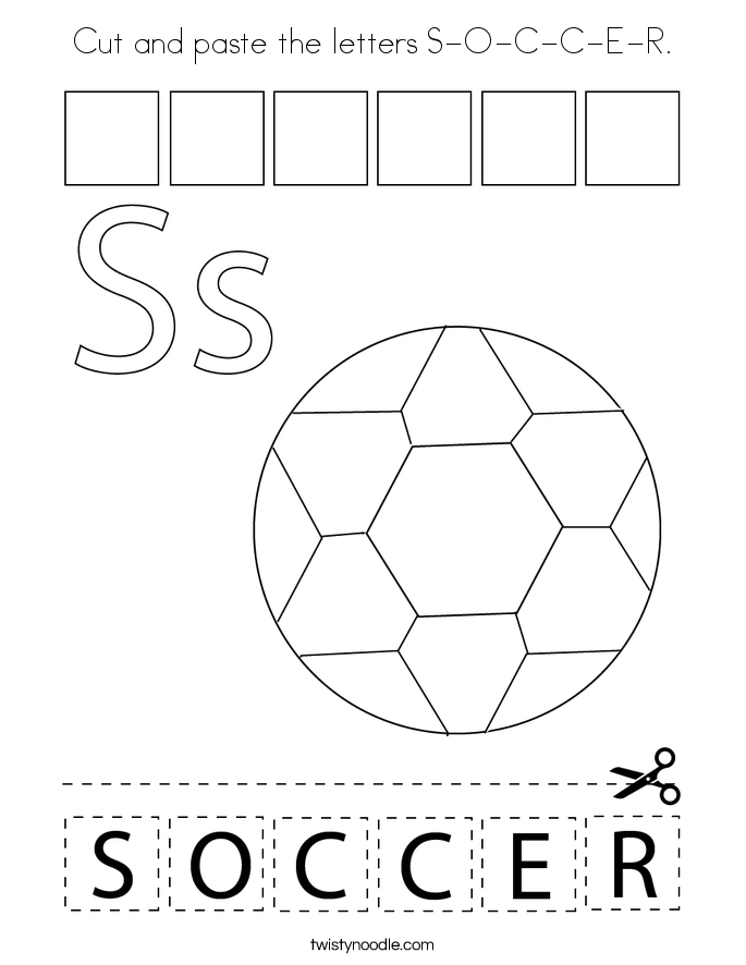 Cut and paste the letters S-O-C-C-E-R. Coloring Page