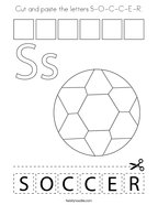 Cut and paste the letters S-O-C-C-E-R Coloring Page