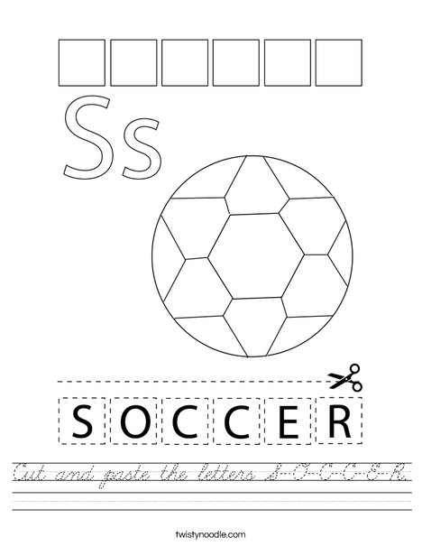 Cut and paste the letters S-O-C-C-E-R. Worksheet
