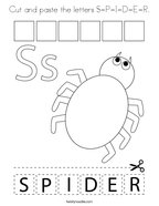 Cut and paste the letters S-P-I-D-E-R Coloring Page