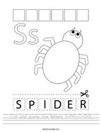 Cut and paste the letters S-P-I-D-E-R Handwriting Sheet