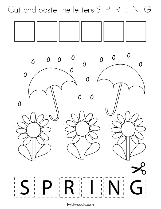 Cut and paste the letters S-P-R-I-N-G. Coloring Page