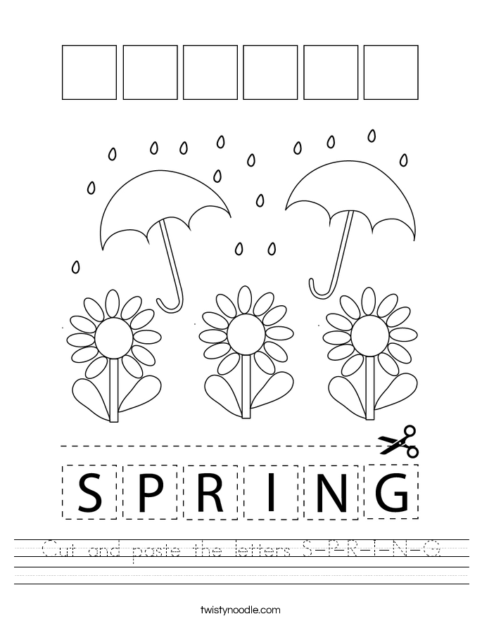 Cut and paste the letters S-P-R-I-N-G. Worksheet
