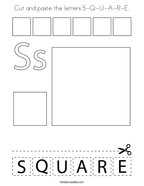 Cut and paste the letters S-Q-U-A-R-E Coloring Page