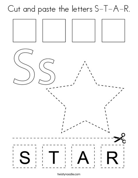 Cut and paste the letters S-T-A-R. Coloring Page