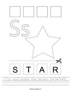 Cut and paste the letters S-T-A-R Handwriting Sheet