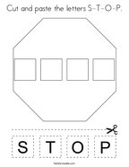 Cut and paste the letters S-T-O-P Coloring Page