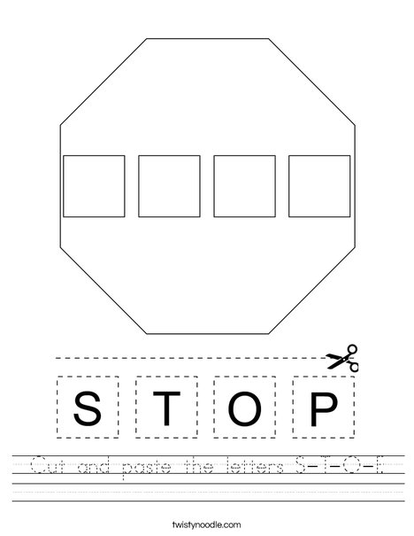 Cut and paste the letters S-T-O-P. Worksheet