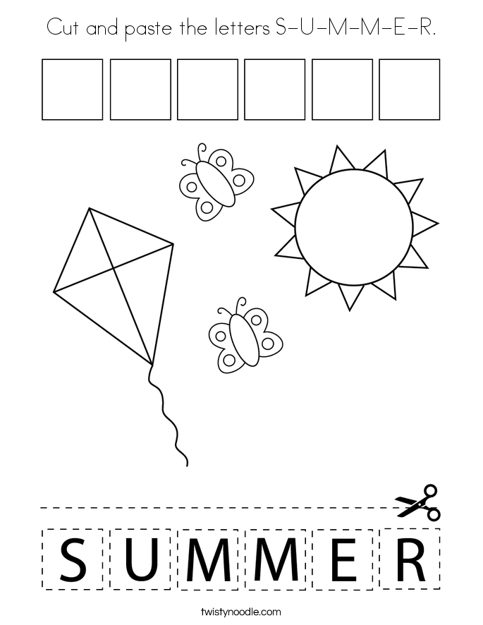 Cut and paste the letters S-U-M-M-E-R. Coloring Page