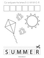 Cut and paste the letters S-U-M-M-E-R Coloring Page