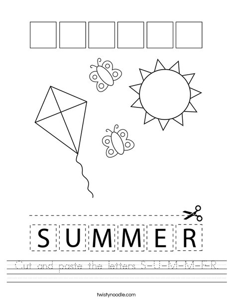 Cut and paste the letters S-U-M-M-E-R. Worksheet