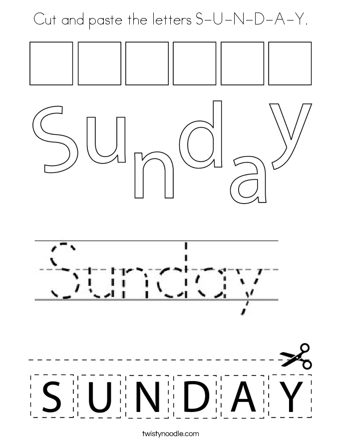 Cut and paste the letters S-U-N-D-A-Y. Coloring Page