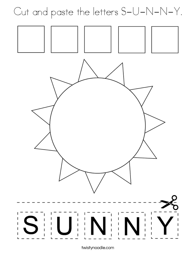 Cut and paste the letters S-U-N-N-Y. Coloring Page