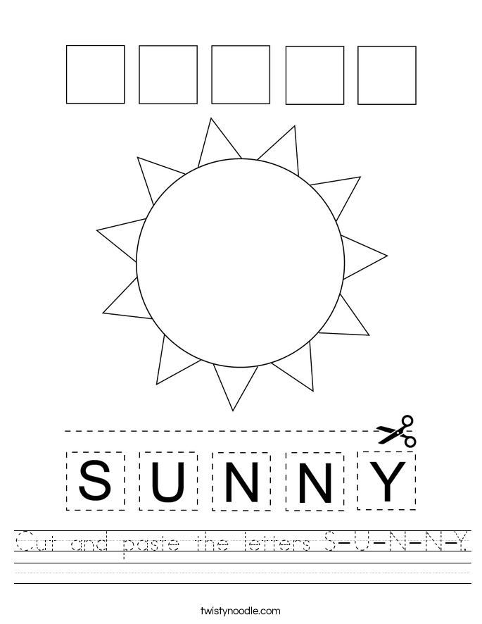 Cut and paste the letters S-U-N-N-Y. Worksheet