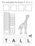 Cut and paste the letters T-A-L-L. Coloring Page