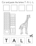 Cut and paste the letters T-A-L-L Coloring Page